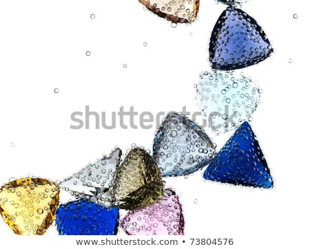 Multi Colored Gems Falling Into Water Isolated On White Foto stock © pashabo