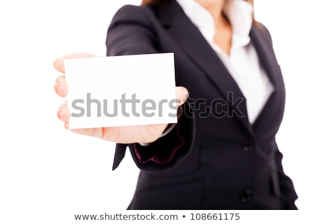 white businesswoman suit business card isolated stock photo © qingwa