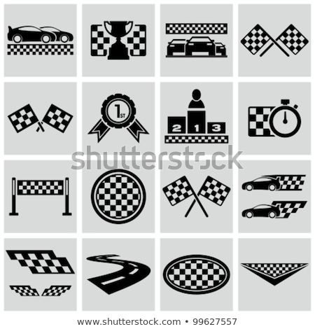trophy cup and checkered flags stock photo © timurock
