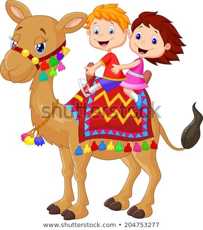Nino nina pie camello ilustración nino Foto stock © bluering