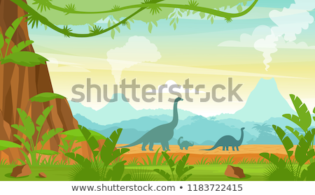 Stock photo: prehistoric landscape mountains and volcano with dinosaurs.