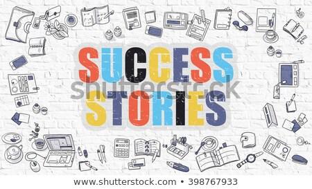 éxito blanco garabato estilo iconos alrededor Foto stock © tashatuvango