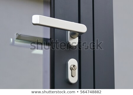 Exterior door handle and security lock on metal frame Stock photo © wavebreak_media