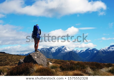girl looking around in mountainous area Stock photo © IS2