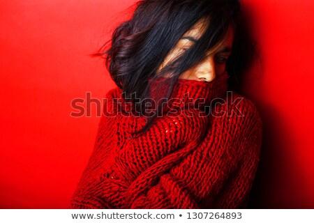 美女 年輕 實 女子 毛線衣 冬天 商業照片 © iordani