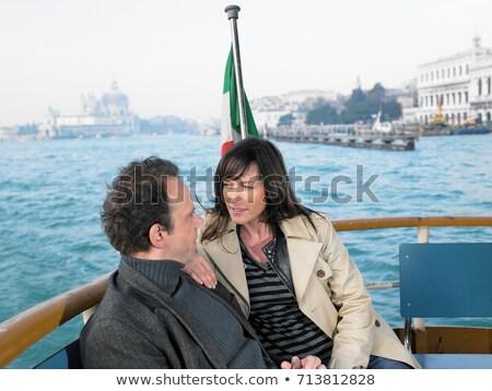 カップル ボート ヴェネツィア 女性 男 フラグ ストックフォト © IS2