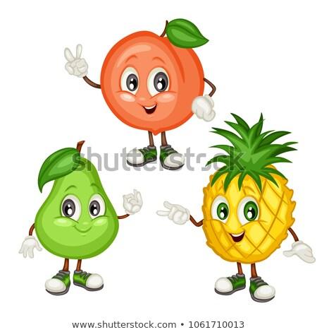 Cartoon персика иллюстрация продовольствие фрукты Сток-фото © cthoman
