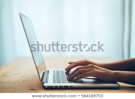Nő gépel laptop numerikus billentyűzet magasról fotózva kilátás Stock fotó © AndreyPopov