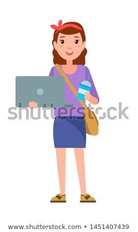 代 少女 ノートブック ハンドバッグ 肩 カップ ストックフォト © robuart