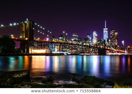 View of Brooklyn Bridge by night, NYC. Stock photo © vwalakte