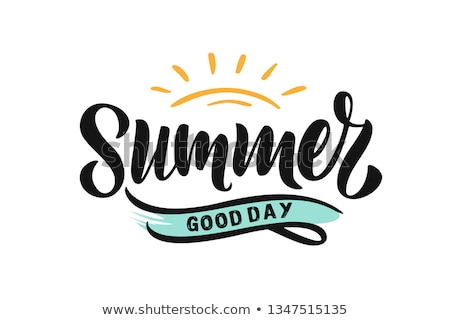 I love Summer Lettering. Summer time postcard. Seasonal lettering. Ink illustration. Modern brush ca Stock photo © kollibri