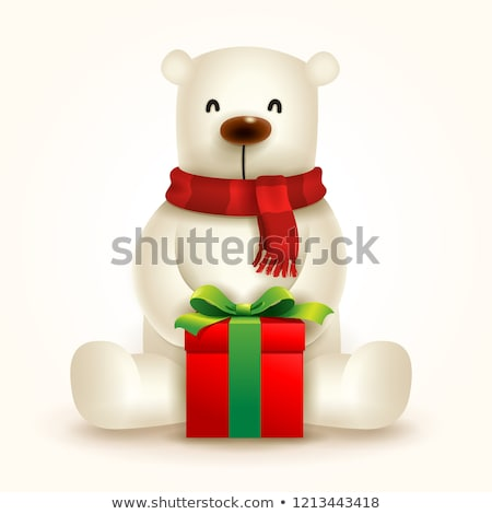 Stock photo: Christmas Polar Bear with Red Scarf and Gift Present.