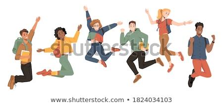 Cartoon ragazza jumping illustrazione bambino nero Foto d'archivio © cthoman
