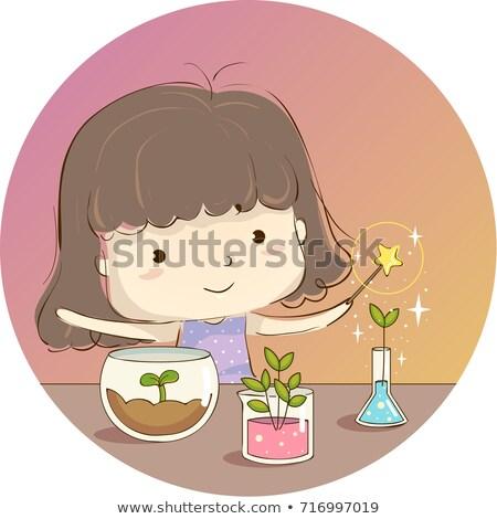 Kid Girl Magic Plant Experiment Illustration Stock photo © lenm