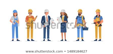 Cartoon glimlachend bouwvakker vrouw vrouw glimlachen Stockfoto © cthoman
