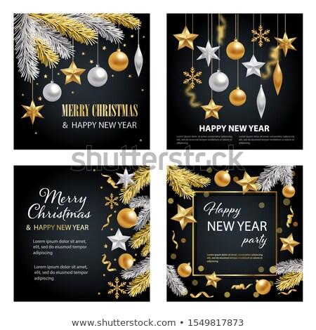 Gold Silber Weihnachten Spielerei Kugeln Ornamente Stock foto © Krisdog