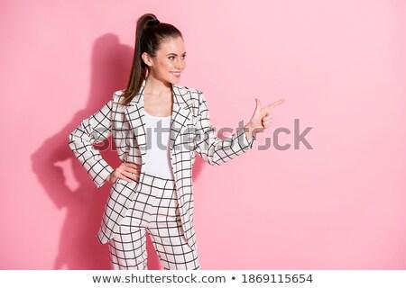 portret · mooie · smart · vrouw · zwart · pak · permanente - stockfoto © feedough