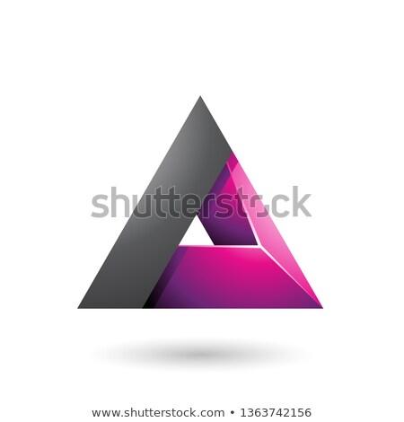 黒 マゼンタ 3D 三角形 穴 ベクトル ストックフォト © cidepix