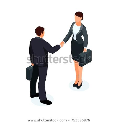 zakenlieden · handen · schudden · illustratie · twee · geslaagd - stockfoto © rastudio