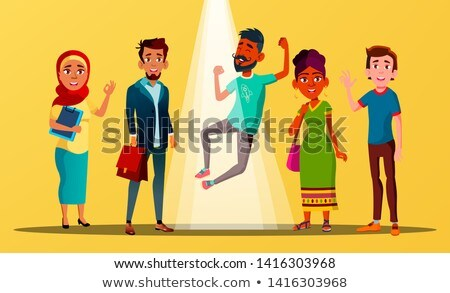 Multicultural Characters Happy For Vacancy Vector Stock photo © pikepicture