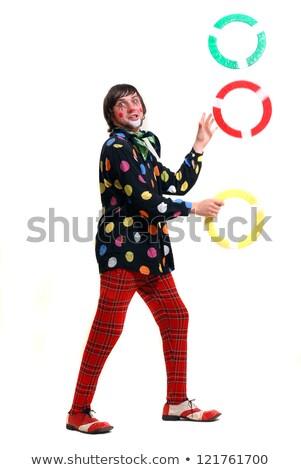 Gelukkig clown jongleren ringen illustratie achtergrond Stockfoto © colematt