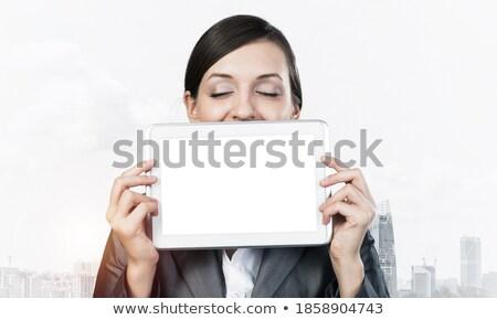 Jonge vrouw oog Maakt een reservekopie camera ander Stockfoto © Giulio_Fornasar