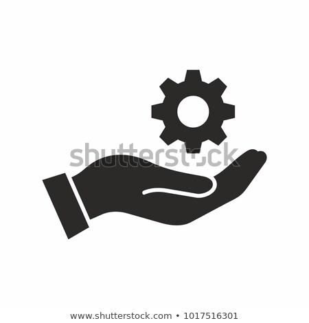 Kéz tart sebességváltó üzlet technológia ipar Stock fotó © ra2studio