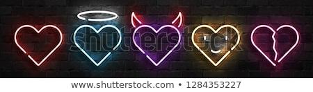 Kalp çift neon sevmek tanıtım aile Stok fotoğraf © Anna_leni