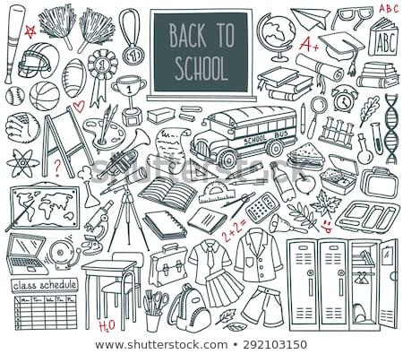Line art hand drawn set of School cartoon doodle objects Stock photo © balabolka