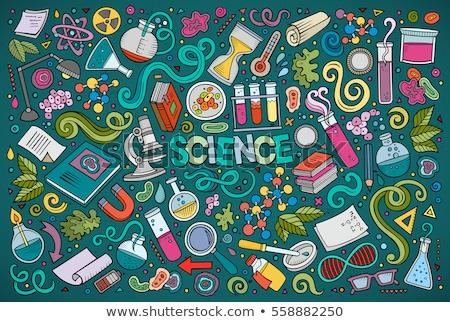 Ayarlamak bilim karikatür karalama nesneler renkli Stok fotoğraf © balabolka
