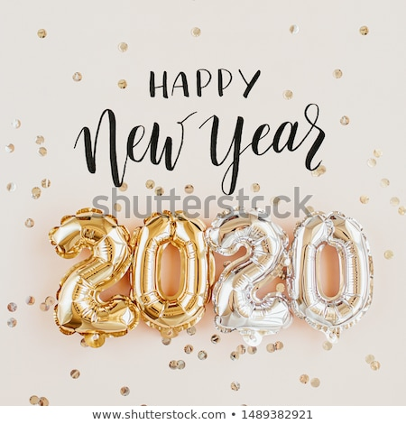Happy New Year 2020 gold party balloon card Stock photo © cienpies
