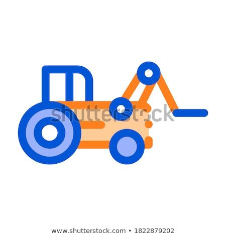 Tok traktor jármű vektor vékony vonal Stock fotó © pikepicture
