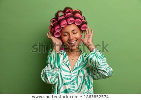 Satisfecho jóvenes femenino modelo peinado maquillaje Foto stock © vkstudio