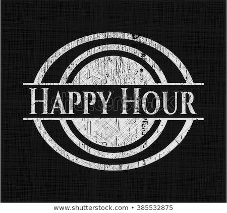 счастливым час написанный черный доске мелом Сток-фото © manfredxy