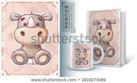 Desen animat rinocer poster vector eps 10 Imagine de stoc © rwgusev