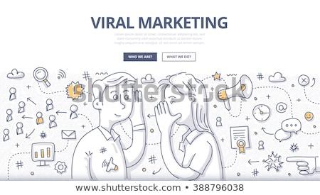 Virale marketing tekst schoolbord notebook pennen Stockfoto © Mazirama