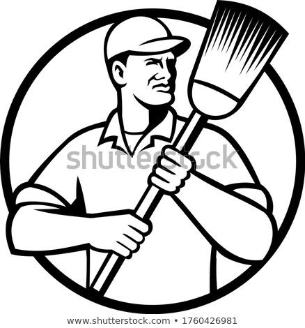 Sokak temizleyici süpürge daire Stok fotoğraf © patrimonio