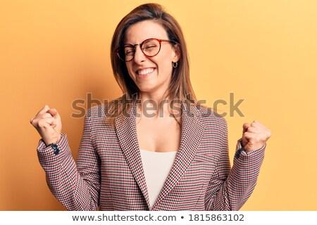 mutlu · iş · kadını · resim · kazanan · beyaz · eller - stok fotoğraf © feedough