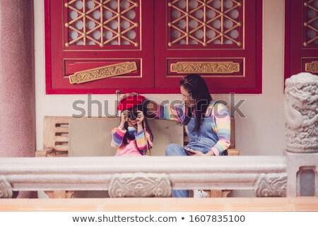Görüntü anne kız mutlulukla birlikte oturma Stok fotoğraf © dacasdo