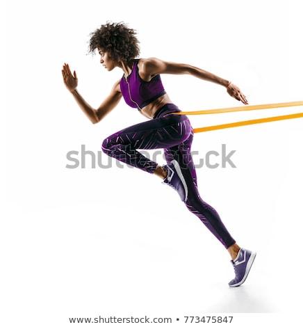 kadın · egzersiz · kauçuk · şerit · genç · kadın · dikey - stok fotoğraf © rob_stark