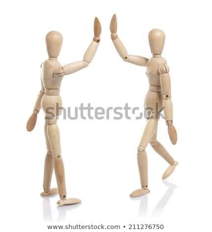 Drżenie rąk odizolowany biały drewna szczęśliwy Zdjęcia stock © Taigi