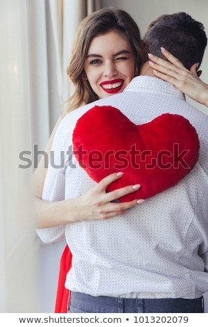 Stockfoto: Vrolijk · vrouw · kussen · bed · meisje
