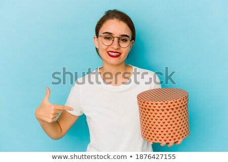 Vrouw wijzend vak achtergrond geschenk witte Stockfoto © photography33