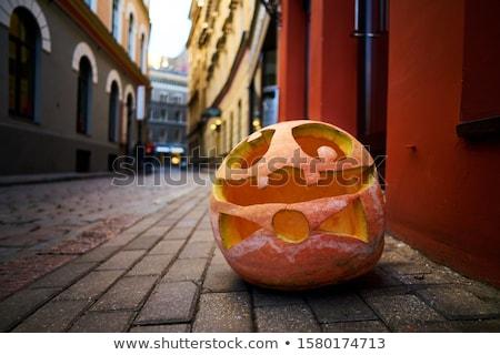 Stockfoto: Halloween · pompoenen · boom · oog · gras · kruis