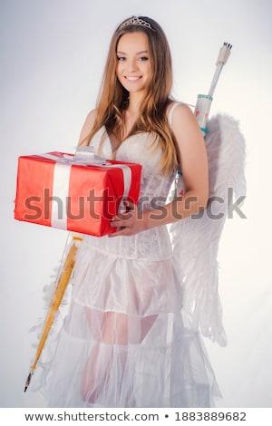 heureux · adolescent · ange · fille · arc · flèche - photo stock © dolgachov