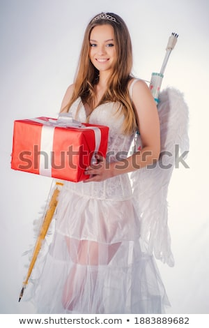 Mutlu melek kız yay ok Stok fotoğraf © dolgachov