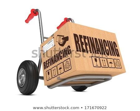 Refinancing - Cardboard Box on Hand Truck. Stock photo © tashatuvango