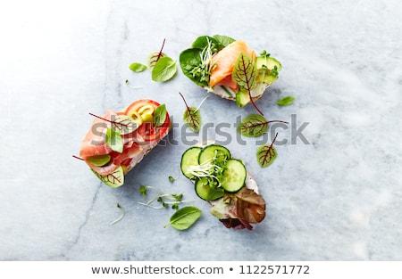 Nyitva egészséges szendvics sajt izolált fehér Stock fotó © natika
