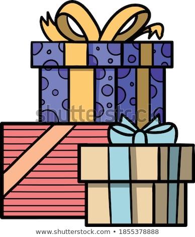 festive gift box and wrapping ribbons isolated on white backgrou stock photo © natika