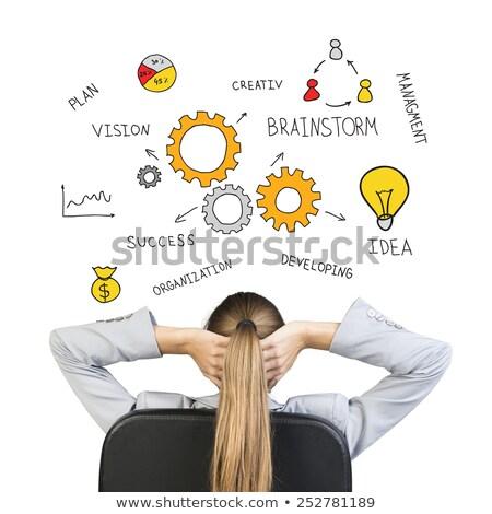 üzletasszony ül irodai szék néz dollárjel levegő Stock fotó © cherezoff